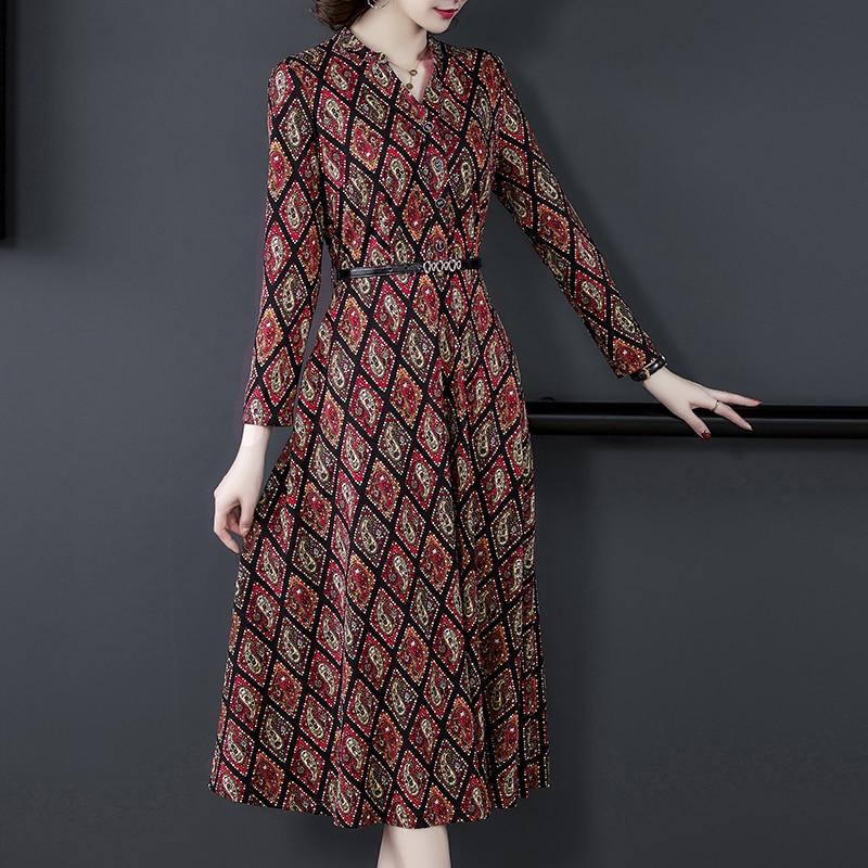 dress for women long Autumn new Korean dress ladies Knitting Full sleeved dress elegant fashion Printing Spring Beach Dresses