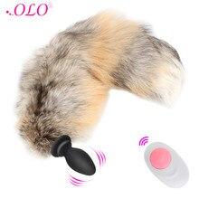 Olo controle remoto raposa cauda anal plug vibrador cosplay brinquedos sexuais para casais vibrando butt plug ânus dilatador adulto jogo
