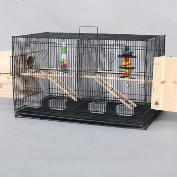 Thickened galvanized large bird cage double-spaced design breeding pet nest metal iron pull chassis tiger skin parrot house