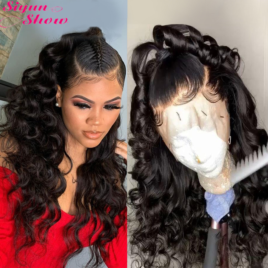 Siyun Show Brazilian Loose Wave Wig 30 Inch 13×6 Lace Front Wig Natural Hair Remy Lace Front Human Hair Wigs For Women