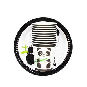 Image 3 - 20 pièces dessin animé licorne/Panda/Mario Animal vaisselle jetable ensembles assiette en papier tasse mariage fête danniversaire Supplie