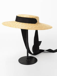 Boater-Hat Beach-Cap Wide Brim Black White Women Summer Flat 10cm Straw 15cm Ribbon-Tie