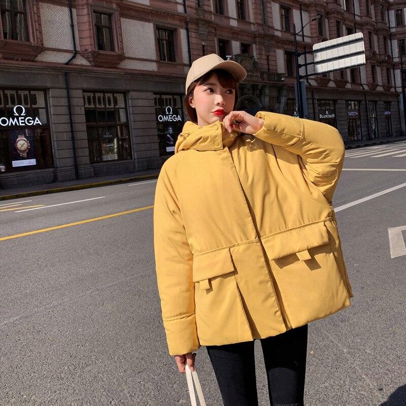 Корейский стиль сиамская Кепка женские парки зимние однотонные Harajuku верхняя одежда оверсайз с капюшоном толстое теплое пальто с длинными р... - 2