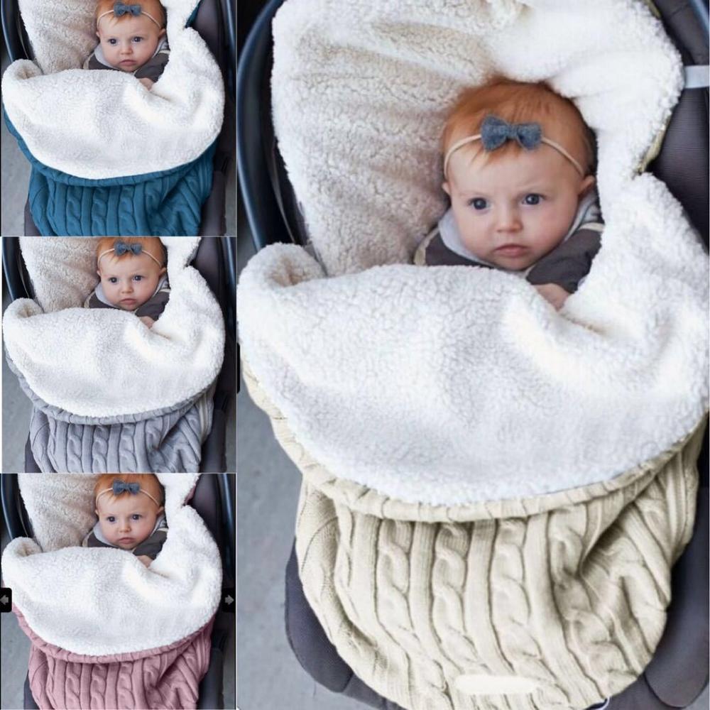 Image 2 - Baby Sleeping Bags Envelope Winter Warm Footmuff Toddler Blanket Wool Sleepsack Button Knit Swaddle Wrap Swaddling Stroller Wrap-in Blanket Sleepers from Mother & Kids