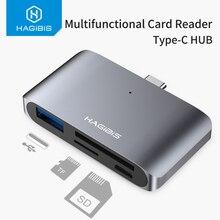 هاجيبيس Type C قارئ بطاقات USB C إلى USB 3.0 SD/مايكرو SD/TF OTG بطاقة محول لأجهزة الكمبيوتر المحمول/USB C الهاتف TypeC متعددة الوظائف محول