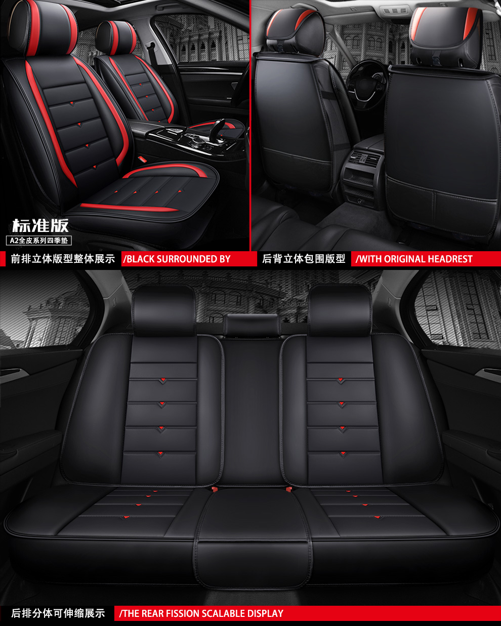 Front seat covers fit Opel Insignia black//grey  Leatherette