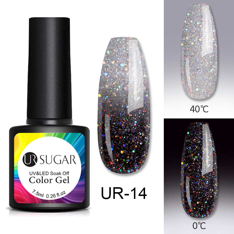 UR Gula 7.5 Ml Rainbow Thermal Kuku Gel Polandia Suhu Warna Berubah Glitter Rendam Off Uv Gel Varnish Pernis