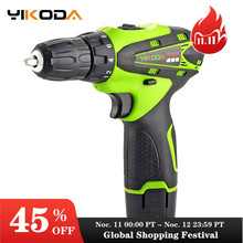 YIKODA 12V Cordless Drill Electric Screwdriver Rechargeable Lithium Ion Battery Parafusadeira Two speed Driver Power Tools