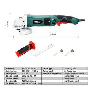 Image 2 - 電気アングルグラインダー 1050 ワット 125 ミリメートルを切断するための可変速度 3000 10500rpm工具不要ガード金属またはストーン