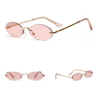 Retro Oval Sunglasses Women Frameless Gray Red Clear Lens Rimless Sun Glasses For Women Uv400 8