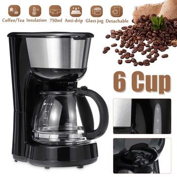 Ekspres do kawy 750ML biuro domowe amerykański styl kroplówki herbaty kawy 6 filiżanek ekspres do kawy 600W regulacja temperatury tanie i dobre opinie becornce