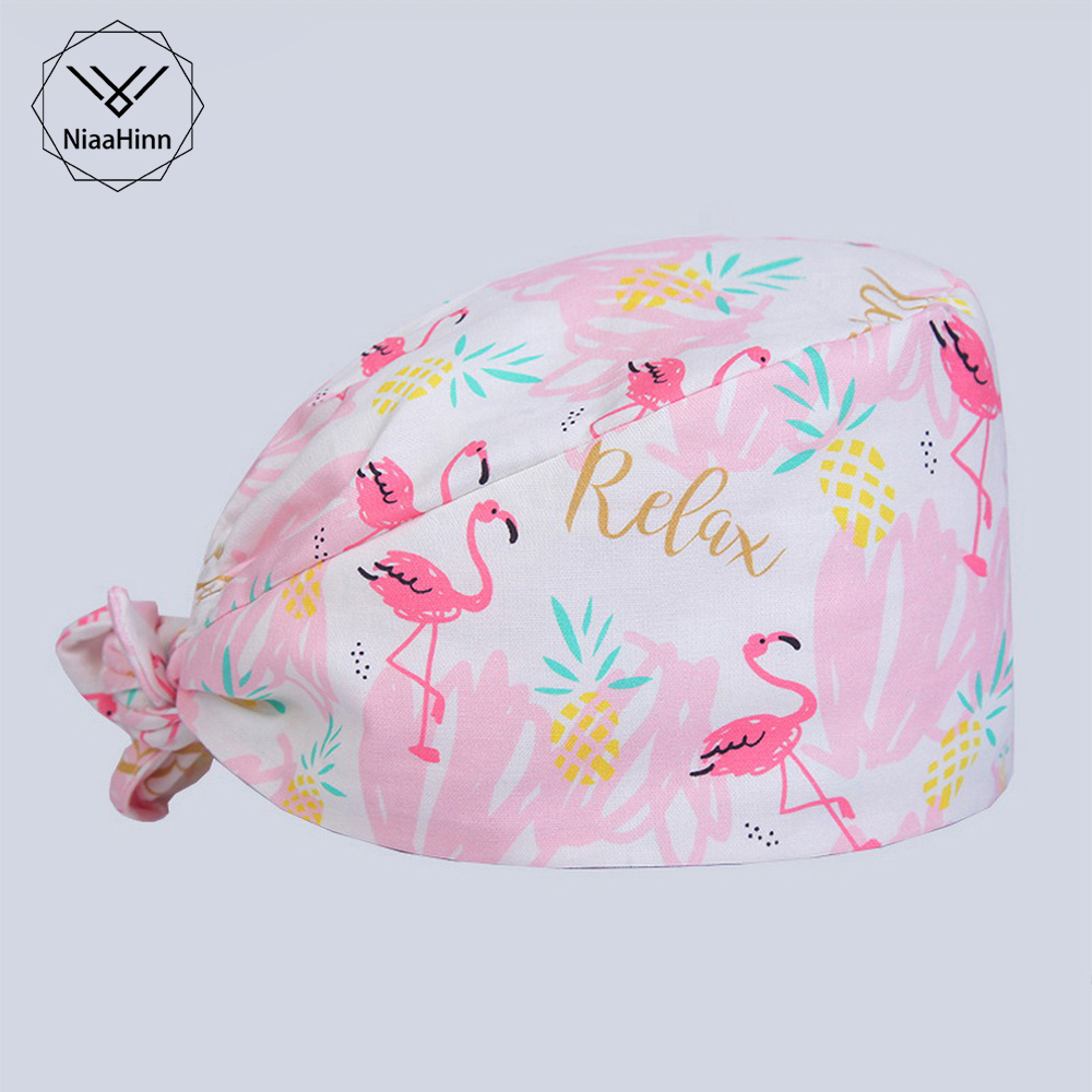 Flamingo Cotton Women And Men Scrub Caps Pharmacy Hat Hospital Medical Nurse Hat Elastic Dentist Cap Surgical Cap Nursing Scrubs