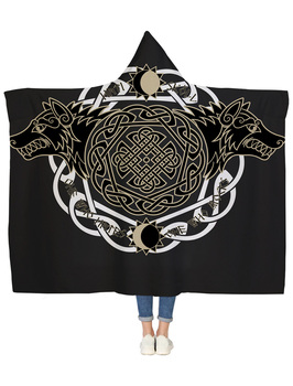 Viking Wolf Totem Hooded Blanket 1