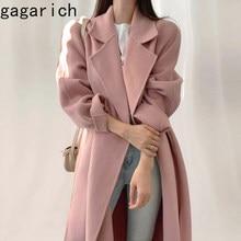 Gagarich elegancki różowy płaszcz kobiety w koreańskim stylu szykowny jesień zima klapa pojedyncze piersi zasznurować talia długa wełniana kurtka Femme Ropa