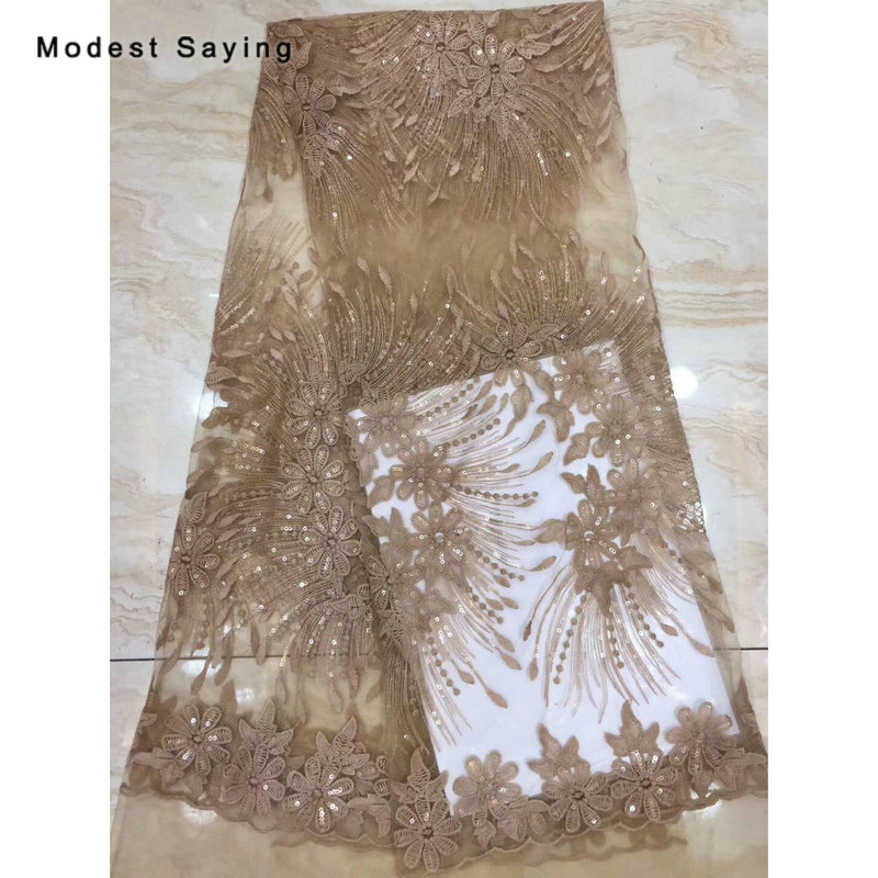 2 Yards Brown African Sequined Lace Fabrics For Evening Dress 2019 Embroidered Mesh Nigerian Party Prom Tulle Lace Material