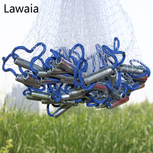 Рыболовная сеть Lawaia для ловли нахлыстом, американская ручная кастинговая сеть, есть грузила, спортивная ручная сеть, диаметр 2,4 м 7,2 м