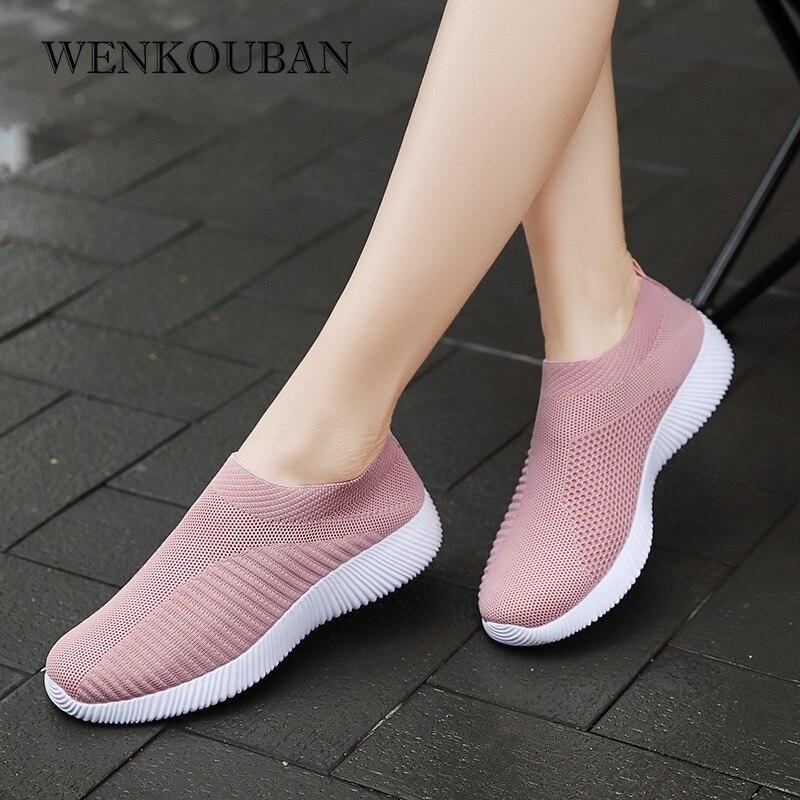2020 Women Sneakers Vulcanized Shoes Sock Sneakers Women Summer Slip On Flat Shoes Women Plus Size Loafers Walking Flat