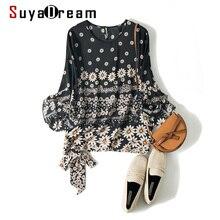 SuyaDream Women Daisy Print Silk Blouses 100%Real Silk Butterfly Sleeves O Neck