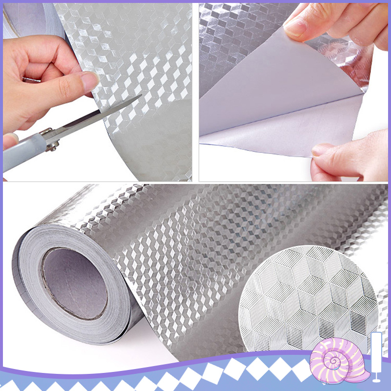 Waterproof Stickers Kitchen Oil-proof Stickers Drawer Cabinet Moisture-proof Stickers Aluminum Foil Paper DIY Home Decoration