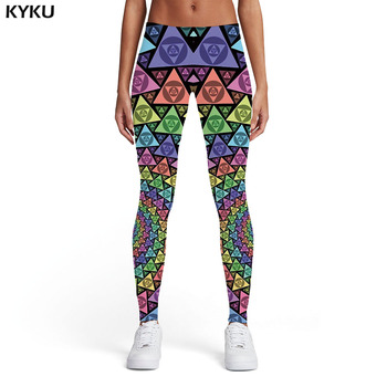 KYKU Psychedelic Leggings Women Dizziness Sexy Geometric Flower Trousers Punk Rock 3d Print  Gothic Printed pants