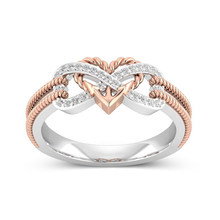 Twist Geometric Design Rings For Women Wedding Engagement Couples Rings Gift Fashion Heart-Shapped Rose Gold Crystal Zircon Ring(China)