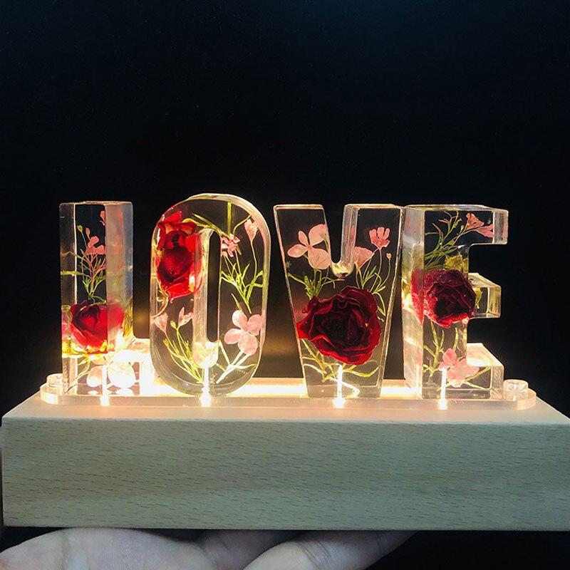Ночсветильник светодиодный с питанием от usb, вечная розовая синяя Роза с надписью «LOVE», сушеный цветок, лампа для влюбленных, жены, подруги, П...