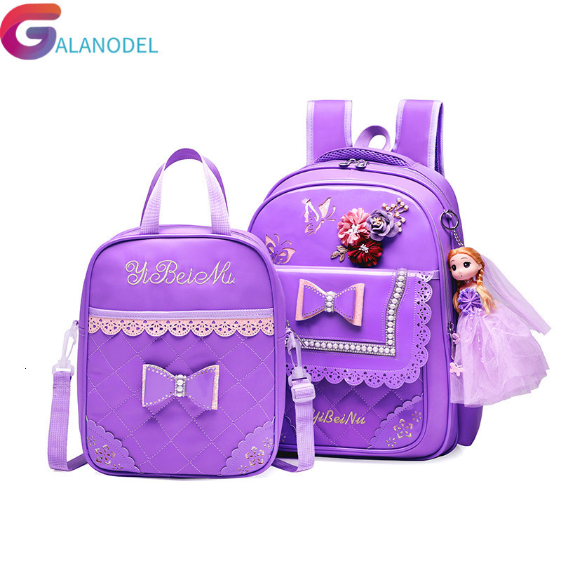PU Pink Bow Girl School Bag Set Beautiful Nylon Waterproof Backpack Cute Girls Schoolbags Satchel Mochila Escolar