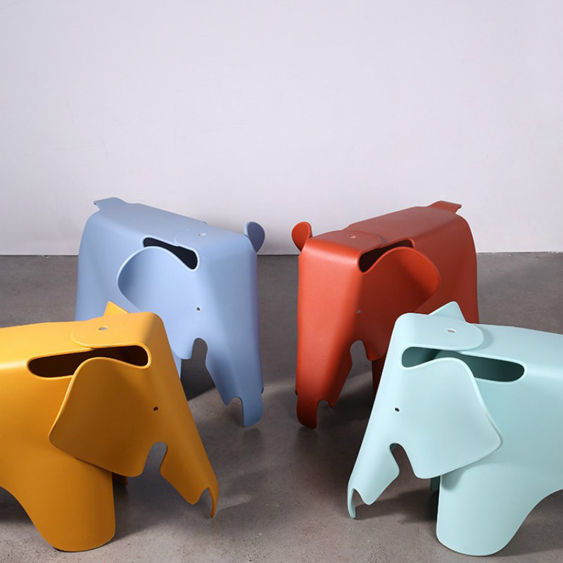 Nordic Creative Child Student Elephant Stool Cartoon Living Room Candy Color Cute Lazy Comfortable Home Bedroom Bench YHJ031424