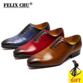 FELIX CHU Big Size 7-13 Oxfords Leather Men Shoes Whole Cut Fashion Casual Pointed Toe Formal Business Male Wedding Dress Shoes