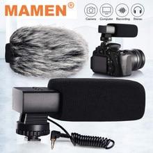 Mamen microfone para câmera com condensador, liga de alumínio, 3.5mm para câmera dslr, canon, nikon, sony, vlog