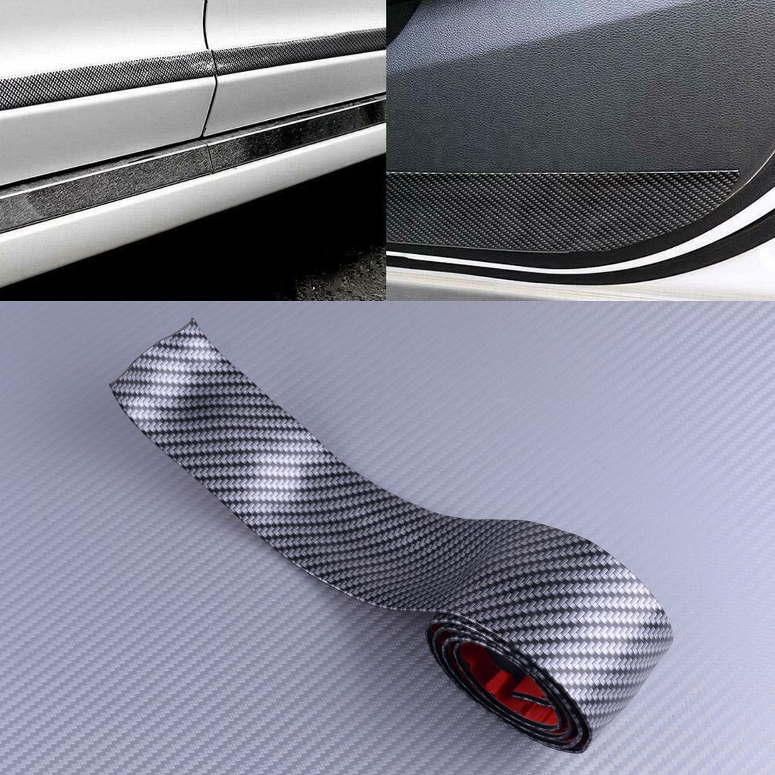 5CM*1M Auto Car Sticker 5D Carbon Fiber Rubber Styling Door Sill Protector Strip