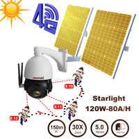 Dual Solar panel für Auto tracking 5MP HD WiFi 4G IP kamera SIM karte TF karte slot versorgung 80A batterie CCTV outdoor PTZ kamera