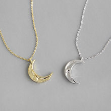 Fashion S925 Silver Necklace instagram simple irregular concave convex moon female Necklace collarbone silver chain(China)