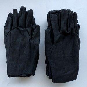 12 pares de luvas de algodão preto macio grande sensível limpeza a seco hidratante trabalho luvas mecanismo luvas de ultra-som