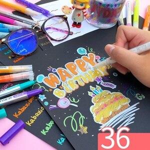 Image 2 - 3 set/lote 36 cores acrílico metálico marcador caneta glitter pintura desenho para o prego metal vidro caligrafia cerâmica lettering arte f117