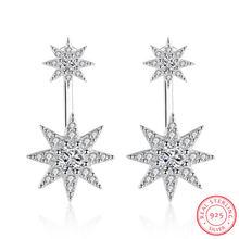100% Стерлинговое Серебро 925 пробы модные блестящие серьги