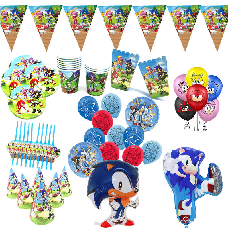 Sonic The Hedgehog Party Supplies Paper Cup Plates Sonic Video Game Balloons Sonic Party Supplies 1st Bithday Party Decorations Aliexpress