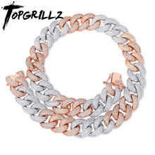 TOPGRILLZ 18MM Maimi Cuban Link Chain Necklace Rose Gold & Silver Color Iced Out Cubic Zircon Hip Hop Jewelry Gift