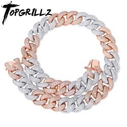 TOPGRILLZ 18MM Maimi Cuban Link Kette Halskette Silber & Rose Farbe Iced Out Cubic Zirkon Hip Hop Schmuck Geschenk