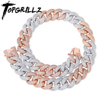 TOPGRILLZ 18MM Maimi Cuban Link Chain Necklace Silver&Rose Color Iced Out Cubic Zircon Hip Hop Jewelry Gift