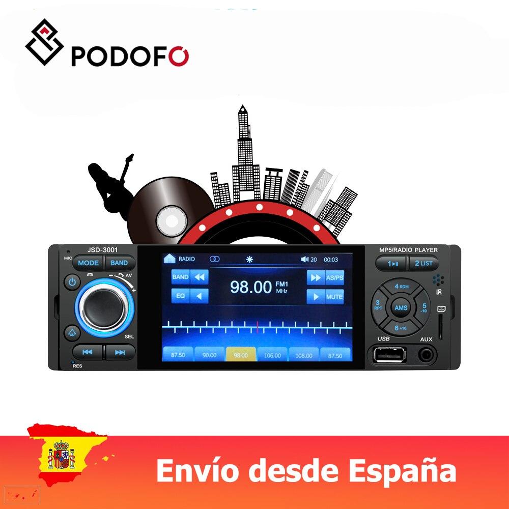 Podofo 1 din radio samochodowe 4 ''samochodowy odtwarzacz wideo MP5 Mirror Link pojemnościowy ekran dotykowy cyfrowy wyświetlacz z kamerą tylną