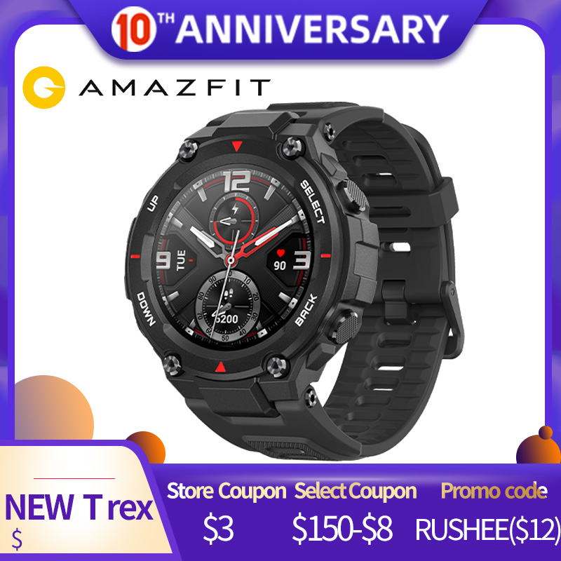 IN Stock CES Amazfit T-rex Smartwatch Control Music 5ATM Smart Watch GPS/GLONASS 20days Standby MIL-STD For Xiaomi IOS Android
