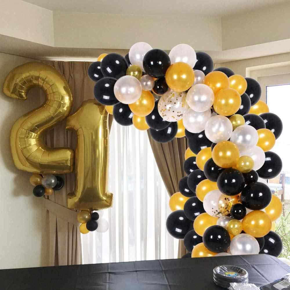 150pcs Black & Gold & White & Gold Confetti Balloon Arch for Baby Shower, Wedding, Birthday, Graduation