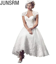 2019 Short Wedding Dresses For Bride Elegant Sweetheart Lace Princess With Covered Button