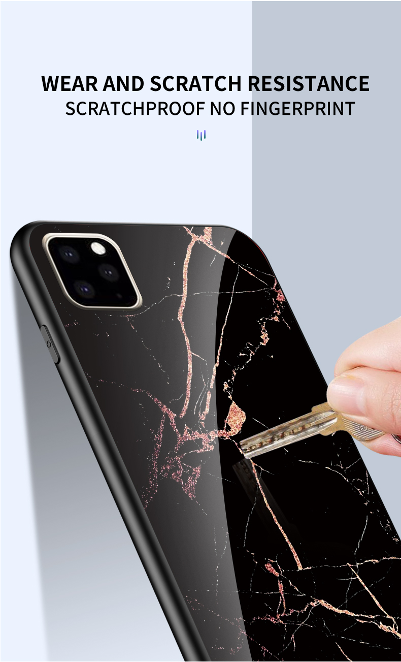KEYSION Marble Tempered Glass Case for iPhone 11/11 Pro/11 Pro Max 8