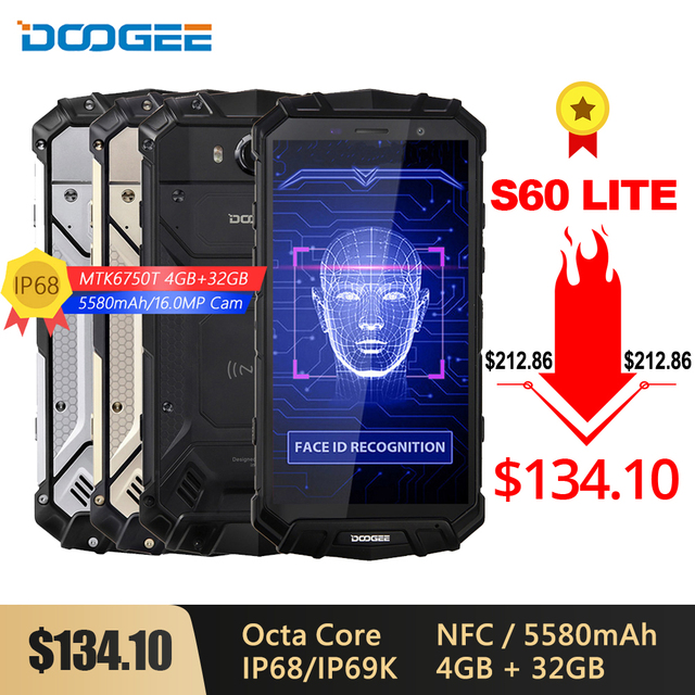 DOOGEE S60 Lite IP68 Wireless Charge Smartphone 5580mAh 12V2A Quick Charge 16MP 5.2 FHD MTK6750T Octa Core 4GB 32GB NFC Phone