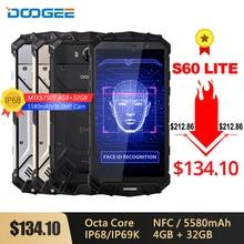Doogee s60 lite ip68 smartphone, carregador sem fio, bateria de 5580mah 12v2a, carga rápida, 16mp, 5.2 fhd mtk6750t, octa core 4 telefone nfc gb 32gb