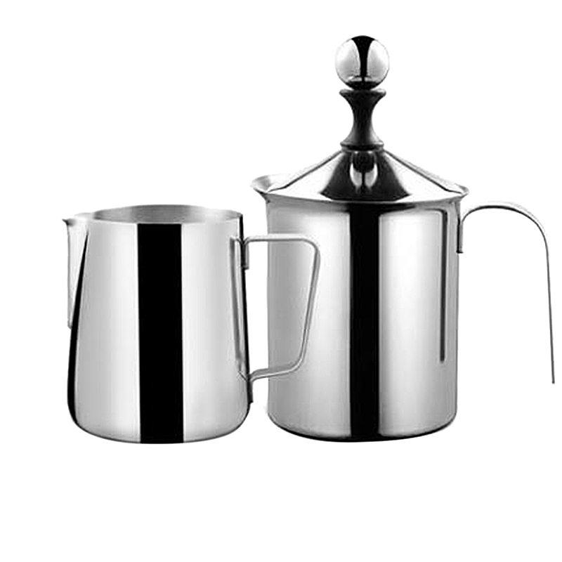 Best Milk Frother Steamer Cup - Easy to Read Creamer Measurements Inside - 400ML Latte Cup+350ML Pull Cup