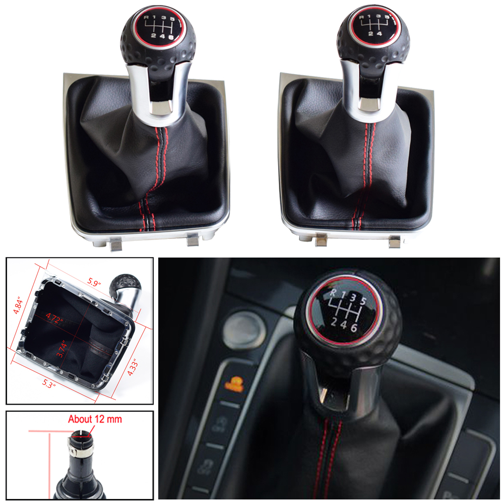 For VW Golf 7 A7 MK7 For GTI GTD 2013-2018 Car 5 / 6 Speed Car Gear Stick Level Shift Knob With Leather Boot LHD