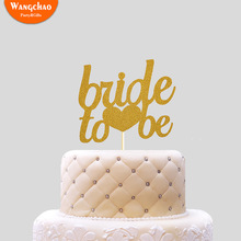Gold Glitter Paper Bride To Be Cake Topper Wedding Decoration Marriage Decorating Romantic Party Supplies